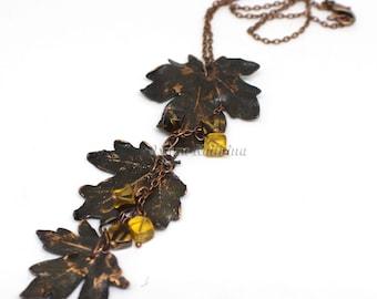 Honey Fallen Copper Maple Leaves Necklace | Nature Maple Leaf Pendant | Copper Maple Leaf Charm | Copper Jewelry Boho 2017