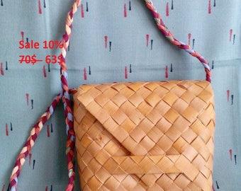 sale, basket bag, Bohemian shoulder bag, Woven bag, Birch Bark bag