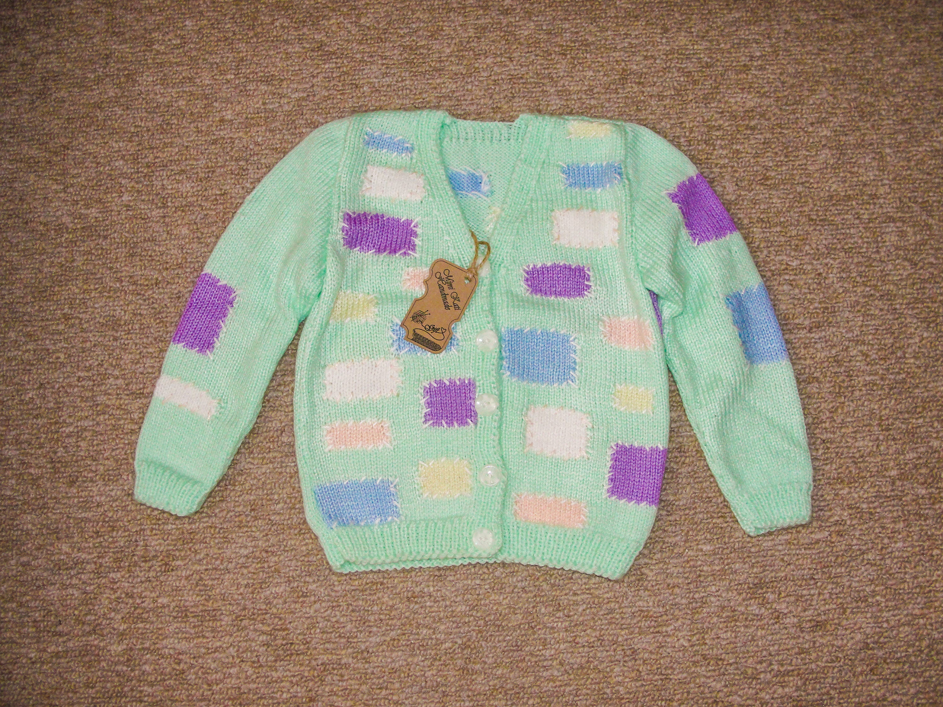 Hand knitted Vintage baby Cardigan with patches Baby girls clothes