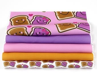 Peanut Butter & Jelly Fabric, Sewing Fabric, Craft Fabric, Fabric Pieces, Qty: 5, 100% Polyester, 8x8 in Sq Fabric, Purple, Pink, (CS102)