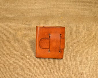 Compact wallet made from genuine leather, handmade