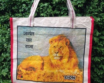 Canvas silk screen printed bag from India - old but never used