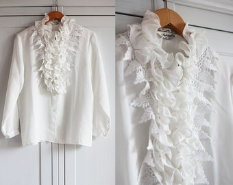 1980s Shirt Vintage white blouse with frills and laces Ethereal Floral top Elegant look Retro women clothing / Medium size