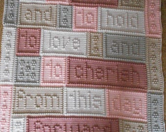 Cherish Wedding Crochet Word Popcorn Afghan Blanket
