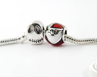 Free Shipping! The Nightmare Before Christmas Jack Skellington & Santa Claus European Bead Set for Charm Bracelets