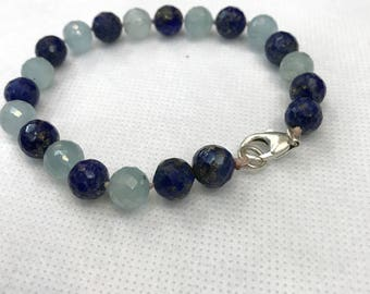 Aquamarine bracelet,lapis lazuli bracelet,throat chakra bracelet,libra bracelet