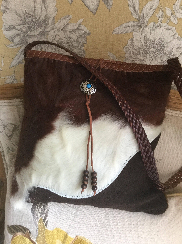 Cowhide Hair On Hide Messenger Bag