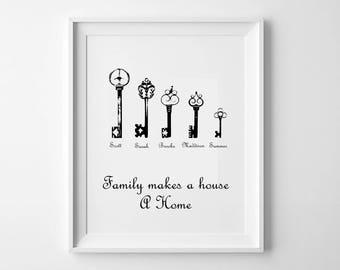 Family Print - Personalised Family Print - Family Names Print - Family ART - Rustic Family Names Print -  Family Names Gift- Home Decor art