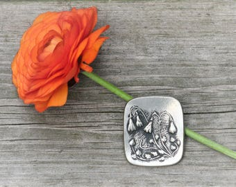 Vintage pewter brooch decorated with plants // 1950s // Rune Tennesmed, Sweden // Swedish // Scandinavia