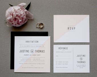 Printable modern wedding Invitation & RSVP, blush invitation, white, black