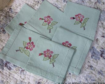 6 adorable vintage green linen tea towels hand embroidered