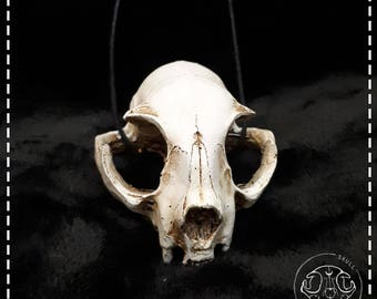 realistic cat skull necklace