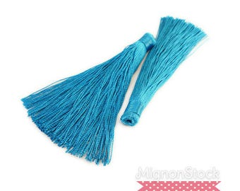 Large tassel fringe - synthetic, light blue - 12cm