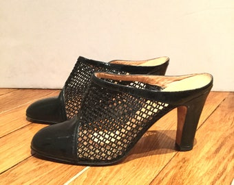 70s, in black patent leather shoe with FishNet /talon Melluso/tops/made in Italy/new/size 37.5 / UK 5.5/US 7.5