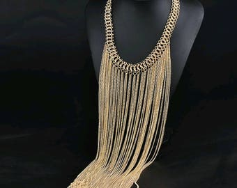 Bib Tassel Choker Necklace Gold Long