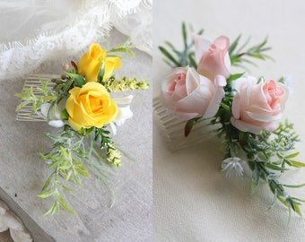 Canary Silk Rose Hair Comb // Wedding / Prom / Bridesmaids / Flower girl / Coachella / Photoshoot