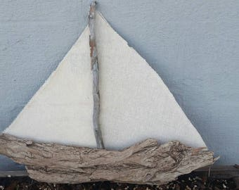 Driftwood/canvas boat