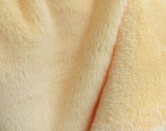 "Light Yellow Plush, Faux Fur Fabric Craft 19.7""x19.7"", Teddy Faux Fur"