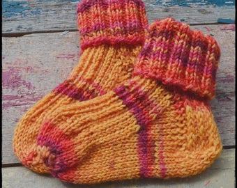 Handknitted baby socks