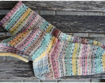 """Handgestrickte Socken Gr.36/37 """"HappyScrappyStyle"""""""