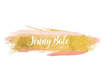 Premade Logo, Logo Design, branding, makeup logo, beauty logo, photography, baking logo, gold, blush