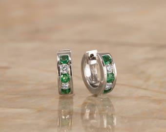 Natural Green Emerald & Diamond Hoop Huggie Earrings 18K White Gold. VS Colorless Diamonds. Great Gift for Birthdays, Christmas, Valentines