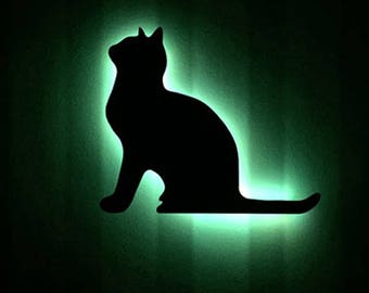 Cat night light, night lamp, LED night light, lad lights, children's decor, baby night light, home decor, led lights, LED wood lamp