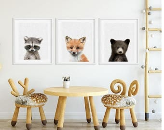 Woodland baby animal pictures, Bear Fox Raccoon Animal prints for nursery, Forest animal prints, Forest friends baby decor