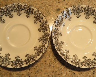 """2 SAUCERS, Royal ALBERT, Bone CHINA, Orphan, 50th Anniversary Pattern, White with Gold Floral Trim, 5.5"""" (#8C)"""