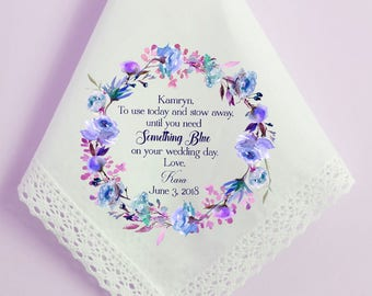 Wedding Handkerchief, Gift to Flower Girl from Bride, NAVY printed hankie, To use today and stow away, Something Blue,  flower hankie- 100