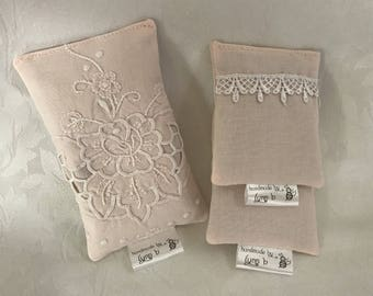 Lavender sachets made using vintage fabric