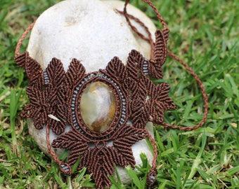 Pendant macramé with stone Onyx sky/Necklace in Sky Onice Stone