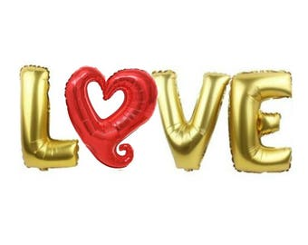 """Gold LOVE Balloons & Red Heart Wedding Engagement Party Decoration - Anniversary Birthday Hen Party - available in 16"""" / 40""""- Free Shipping"""