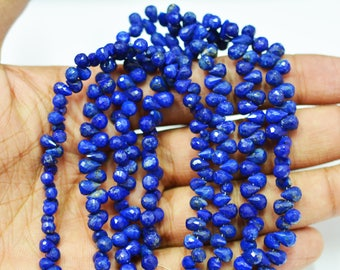 AAA Quality Natural Lapis Faceted Tear Drop Beads / 3x5 - 4x6 MM / 4 inch