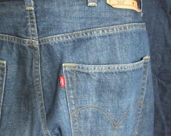 Levi's 569 38x32 dark blue all cotton denim. Loose Straight. 19.67 Summer of Love 50th Anniversary Sale