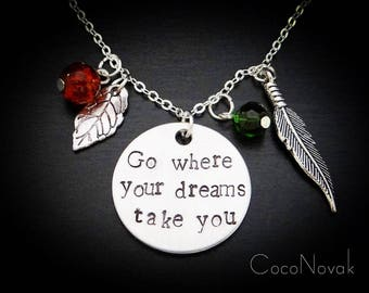 Go Where Your Dreams Take You Pocahontas Necklace | Feather Jewelry Hand Stamped Necklaces | Feather and Leaf Charm Necklace Earth Jewelry