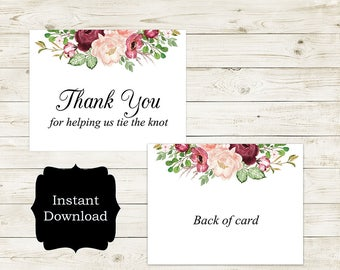 Thank You For Helping Us Tie The Knot Wedding Day Card, Wedding Thank You Card/Berry Blush Collection
