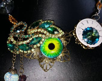 Beautiful old-world look SEA MONSTER steampunk necklace