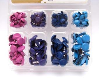 Pink - Purple - Dark Blue - Light Blue - Brads Set - Brads for Scrapbooking - Box with 140 brads