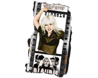 T-SHIRT: Blondie - Film Strip - Classic T-Shirt & Ladies Fitted Tee - (LazyCarrot)