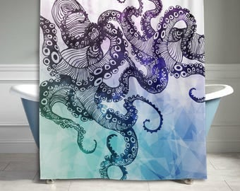 Watercolor Cool Octopus Kraken Tentacle Polyester Fabric Shower Curtain Bathroom Sets Home Decor 60 X 72 Inches
