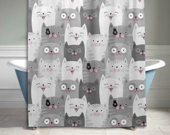 Gray Cute Cat Kitty Pattern Shower Curtain Bathroom Decor Home Decor