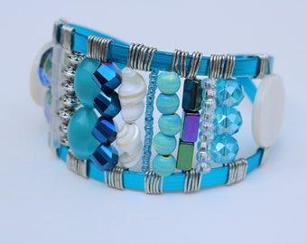 Blue Cuff-style Bracelet