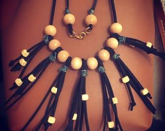 PomPoms of suede necklace