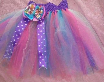 Trolls tutu and hairbow set , princess poppy tutu set.