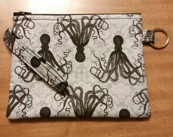 Gray Octopus Wristlet Wallet