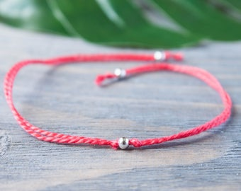 Red String of Fate Sterling Silver Tiny Beads Wish Bracelet Wrist Red Cord Red Thread Kabbalah Protection Bracelet Bracelet Silver Bracelet