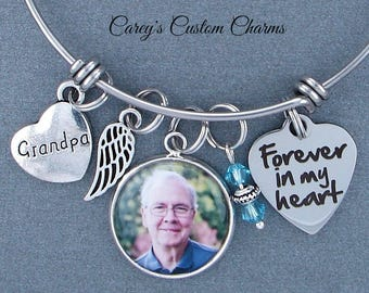 Grandpa Memorial Keepsake Photo Charm Bracelet, Swarovski Birthstone, Sympathy Gift, Forever In My Heart, Angel Wing, Custom Picture Charm