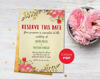 Save the date invitation Floral invitation template Save the date card Save the date invite Wedding invitation Rustic Save the date diy