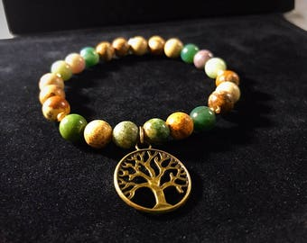 Indian Agate & Picture Jasper Bead Bracelet Tree of Life Gold Zen Boho Mala Protection Jasper Luck LuckyStrength Grounding Gemstones